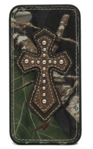 M&F Camo with Brown Leather Cross iPhone 4 Case | Cavender's