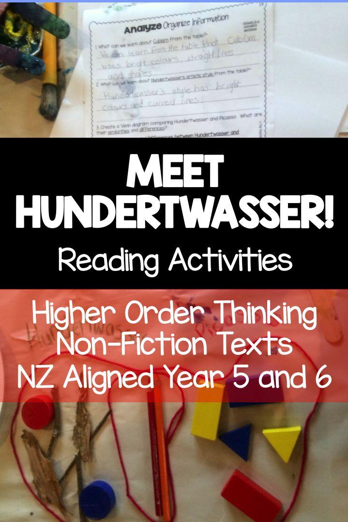 Meet Hundertwasser: Reading Comprehension activity for NZ Classrooms. This is a great product to hook reluctant readers into reading! This Year 5 and 6 resource helps students to look deeply at a text. There are four non-fiction texts, and each text includes five pages of higher order thinking questions. It also aligns with the Year 5 and 6 NZ Curriculum. No-prep! Just print and handout! Only available at Top Teaching Tasks!