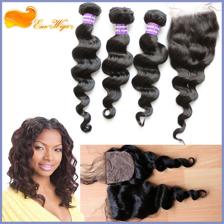 Virgin Peruvian Hair Bundles With Silk Based Closure Loose Wave Natural Color Bundle With Silk Closure Free Shipping