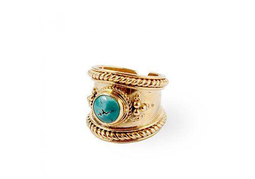 Deze Gouden Ring 'Bohème' met Turquoise edelsteen is onderdeel van onze boho sieraden collectie! Handcrafted Sieraden >>  Route508