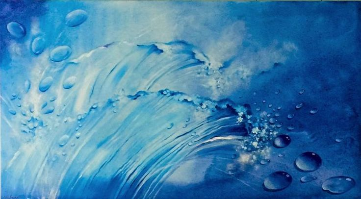 Contemporary art on stretched canvas. Oil painting blue. Big painted wave