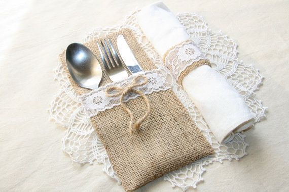 Burlap silverware holders perfect for your rustic wedding, any other celebration or home decor! This listing is for one burlap silverware holder