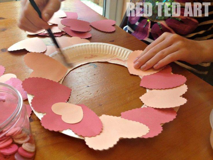 kids craft- Valentines Heart collage wreath