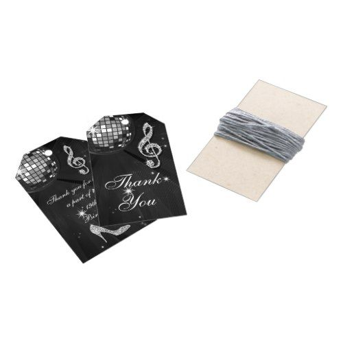 Black Disco Ball and Heels 19th Birthday Gift Tags