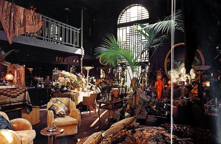 Biba's Barbara Hulanicki. Eclectic studio home. James Mortimer for Vogue 1975