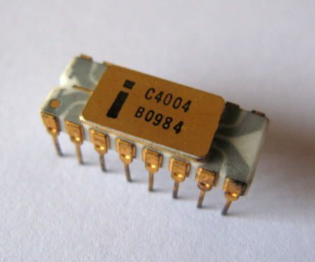 "Intel 4004 was the first commercially available single-chip microprocessor in history. It was a 4-bit CPU designed for usage in calculators, or, as we say now, designed for ""embedded applications"". Clocked at 740 KHz, the 4004 executed up to 92,000 single word instructions per second, could access 4 KB of program memory and 640 bytes of RAM."