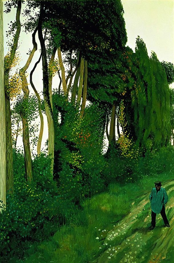 Félix Vallotton (1865-1925), Paysage au paysan, Honfleur, 1912. That's a lot of green.
