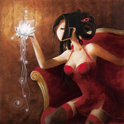 """""""Le lotus"""", de l'artiste Misstigri. Je pense me faire un tatoo lorsque j'aurai atteint un grand objectif, et j'aimerais avoir ce lotus qui descend dans le dos, du côté gauche."""