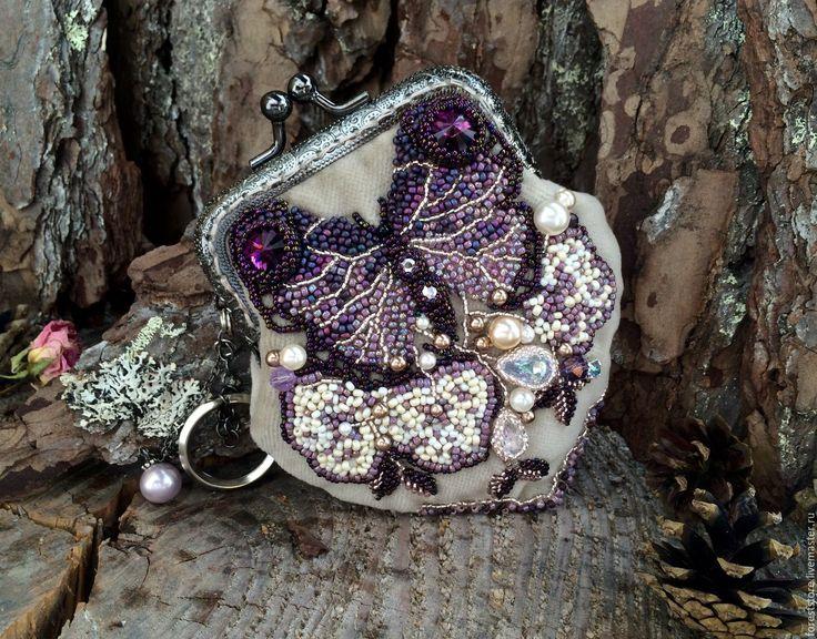 """Купити мини """"Крылья бабочки"""" - фиолетовый, кошелек, фермуар, ключница, бархат, бежевый"""