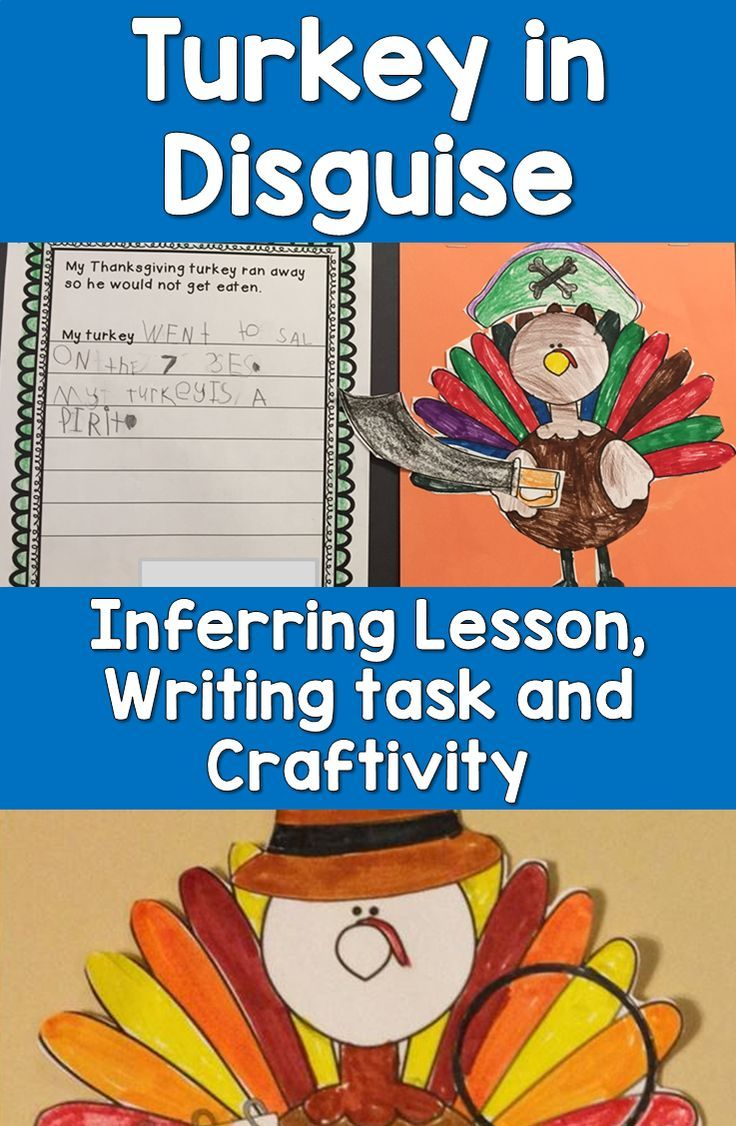 This Thanksgiving writing activity, inferring lesson and craftivity works perfectly with most Thanksgiving books about the turkey.  Students write about how their turkey will disguise themselves and where they will hide out to avoid getting eaten.