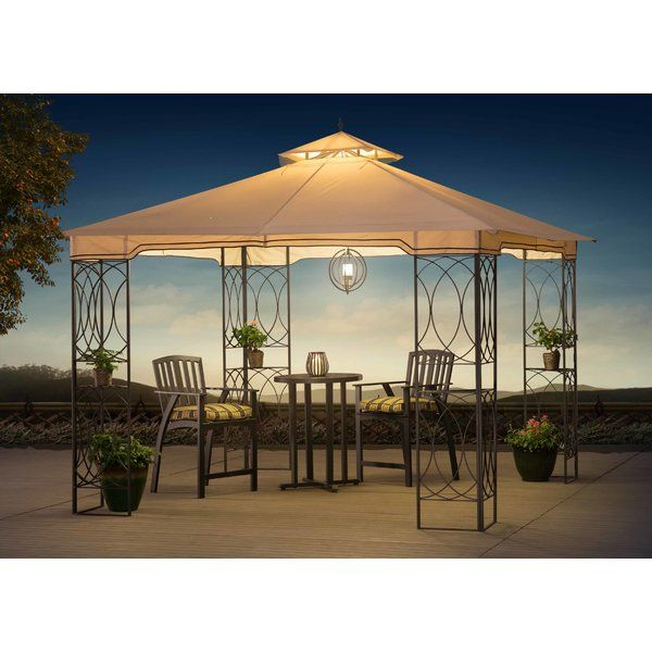 Create an inviting and intimate area to relax, dine, or converse with friends in any outdoor living area with the addition of this stylish and highly functional gazebo. The large canopy provides ample protection from UV rays, rain, and small debris like falling leaves or sap for both you and your patio furniture. The added protection provided by this gazebo can help to reduce the required maintenance on patio furniture and keep your furniture looking like new for longer. A stylish pattern of…