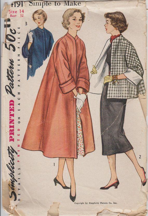 1952 Womens Swing Coat Sewing Pattern   Vintage Simplicity 4191   1950s Misses Coat Pattern   Long Coat, Short Coat   Bust 32, Size 14
