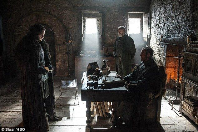 On the wall: Jon is shown with Stephen Dillane as Stannis Baratheon and Liam Cunningham as Davos Seaworth