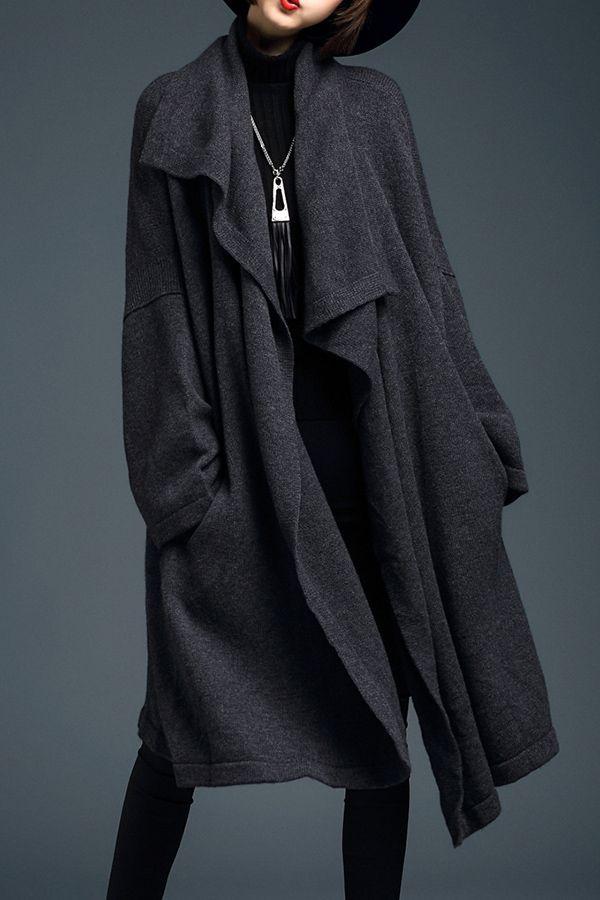 LUSHIJIAO - Draped Front Knitted Cardigan