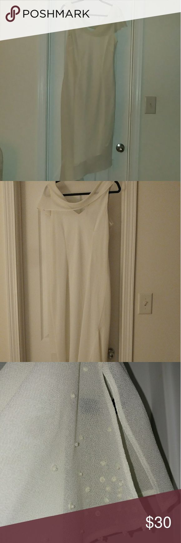 KS Collection sleeveless dress. KS Collection sleeveless dress. Beautiful soft draped front and back. The front has delicate beading. High low side. Size 12.  This is an off white creamy color.  Fully lined, soft and float material. KS Collection Dresses High Low