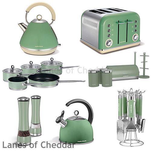 Morphy Richards Sage Green Kitchen Set Accents Range Including Kettle & Toaster #home #kitchen