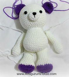 Valentine Teddy Bear With Heart Shaped Feet ~ Amigurumi To Go, #crochet, free pattern, #haken, gratis patroon (Engels), beer, baby, aanpassingen beschikbaar, op zelfde pagina, konijn, andere benen