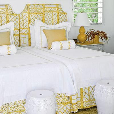 Sometimes the practical thing to do is to put a pair of twin beds in a single guest room as opposed to one larger bed, in order to maximize the number of people who can sleep in a home. But the nature of smaller-sized beds can give a kiddy vibe to the space because we are so used to seeing them in children's bedrooms.