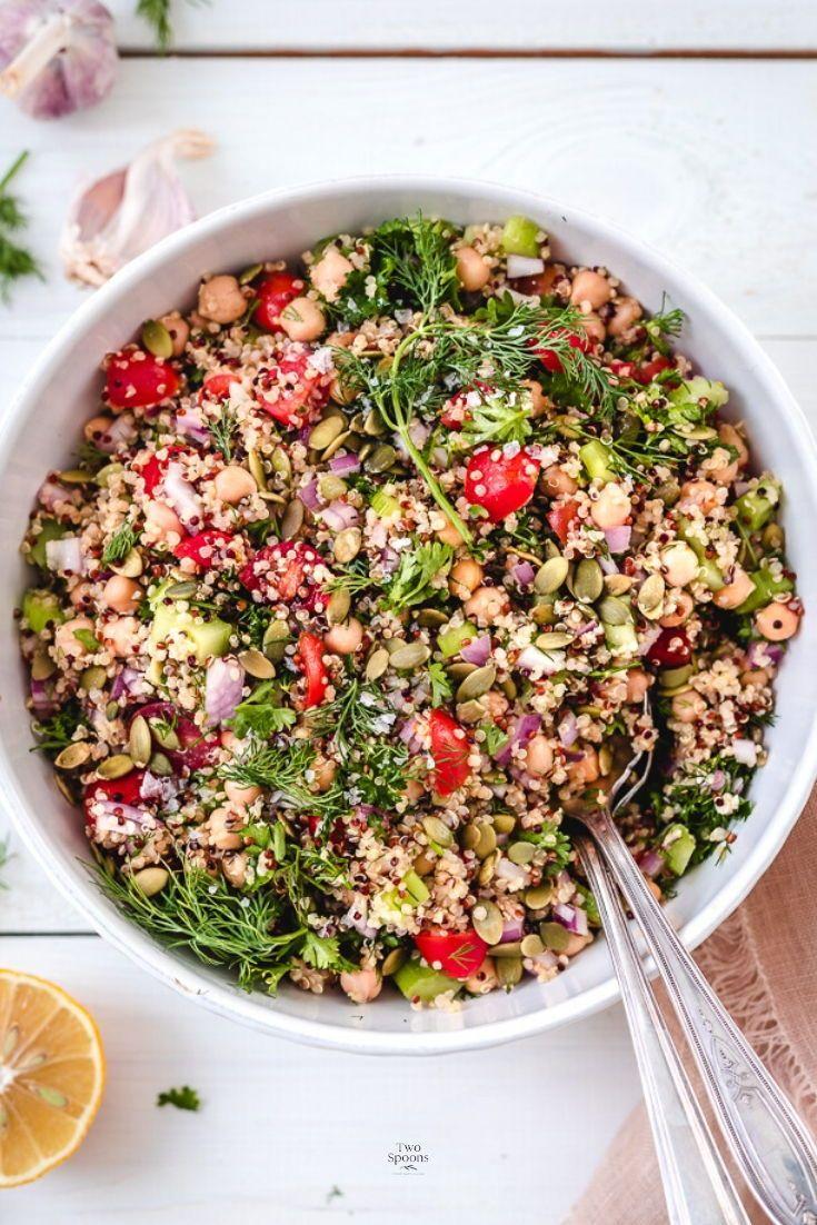 Easy Vegan Quinoa Chickpea Salad Two Spoons Recipe In 2020 Vegan Salad Recipes Colorful Salad Recipes Chickpea Salad Recipes