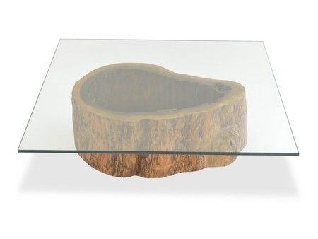 Salvaged hollow trunk coffee table square glass top Tree trunk coffee table glass top