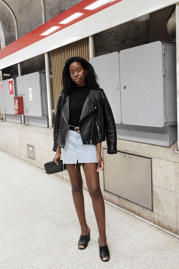 A leather jacket and a jean mini skirt is always a great outfit combo.