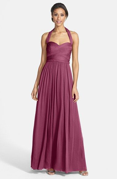So pretty! Monique Lhuillier Bridesmaids Crinkled Silk Chiffon Halter Gown in Raisin