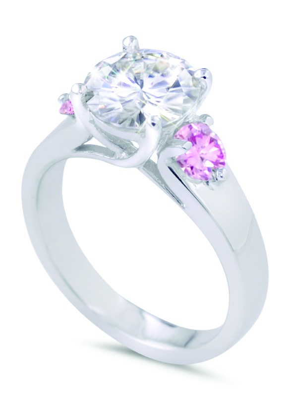 Harnie Pink Ring 18k White Gold With Moissante & Colour Enhanced Pink Diamonds, $4070, Moi Moi Fine Jewellery, Shop 16, Level 2, QVB