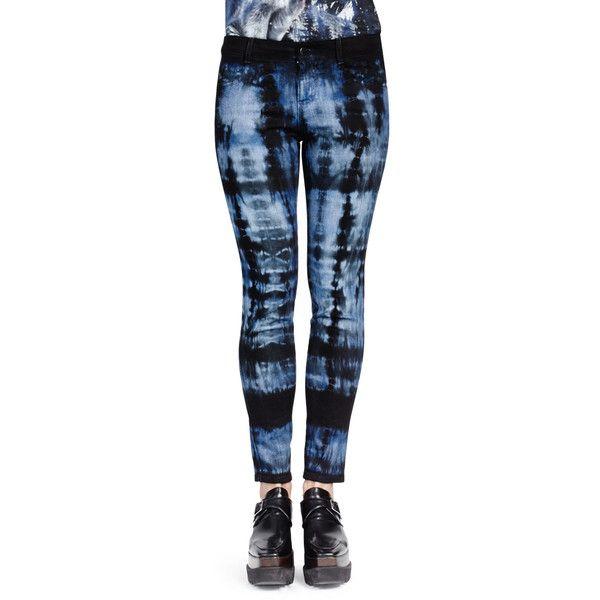 Stella McCartney Tie-Dye Skinny Ankle Jeans ($850) ❤ liked on Polyvore featuring jeans, dark blue, tie dye blue jeans, cropped skinny jeans, zipper jeans, skinny jeans and blue jeans