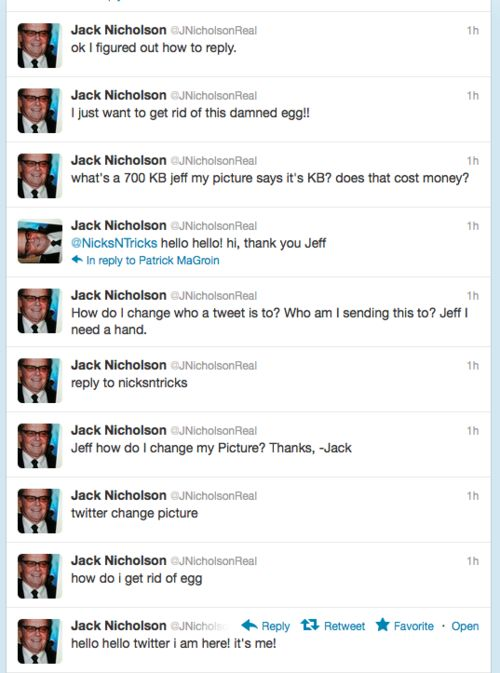 I legit peed my pants a little while reading this...Jack Nicholson is many things, but technologically savvy does not seem to be one of them!
