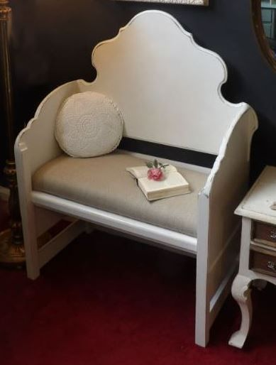Bench built using recycled headboards painted in Craig and Rose Linen White and upholstered in a rugged fabric to give you that shabby chic look £145