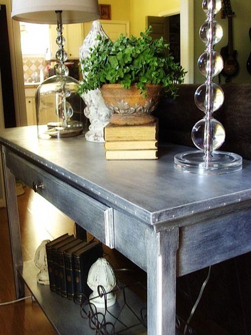 Zinc Furniture DIY   Pamela Joyce: Easy Faux Zinc Table