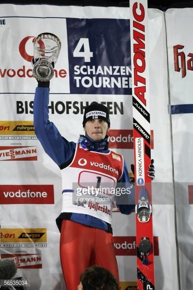 Janne Ahonen of Finland celebrates coming first during the FIS Ski Jumping World Cup event at the 54th Four Hills Ski Jumping Tournament on January 6...