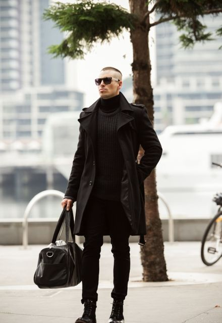Timeless all-black men outfit with a black trench coat with turtleneck 861266f7641f6