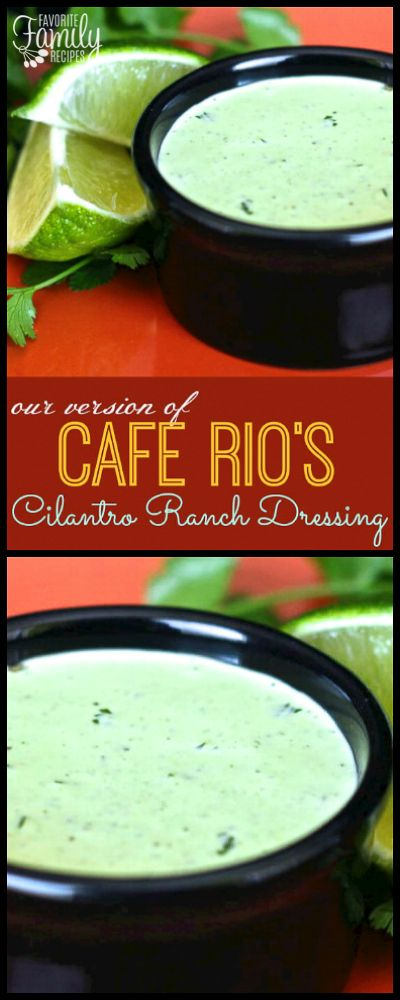 This Cafe Rio Cilantro Ranch Dressing Copycat Recipe is so incredibly good! It is delicious on homemade Cafe Rio salads and burritos. via @favfamilyrecipz