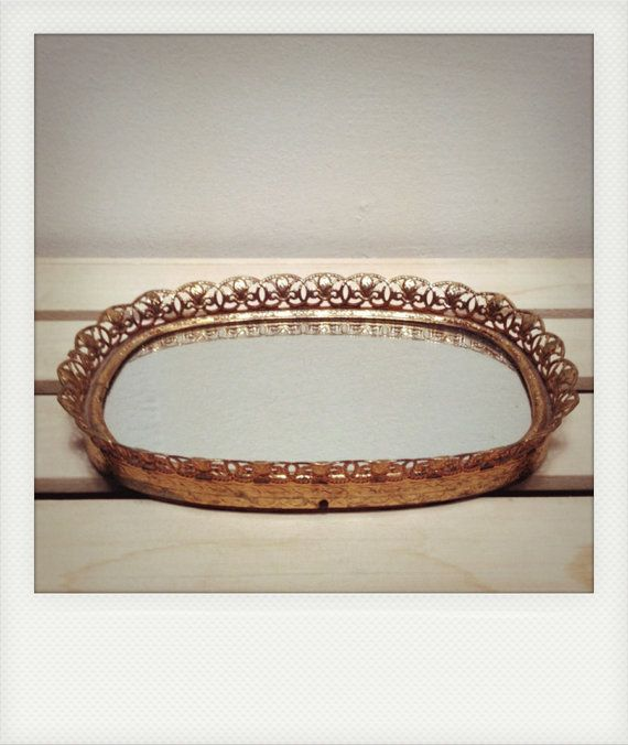 Small Vintage Mirrored Vanity Tray