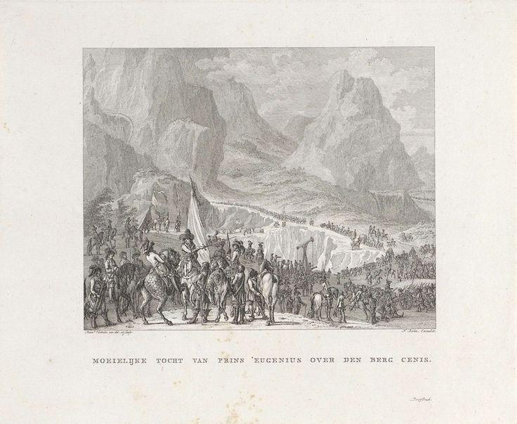 Reinier Vinkeles | Eugenius van Savoye met zijn troepen bij Mont Cenis, Reinier Vinkeles, François Bohn, 1751 - 1812 | Gezicht op de Mont Cenis waar de Franse generaal Eugenius van Savoye zijn troepen instructies geeft vanaf zijn paard.