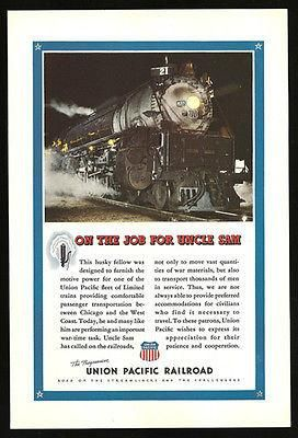 Engine 825 WWII Union Pacific Railroad 1943 Photo AD Troops War Materi – Paperink Graphics