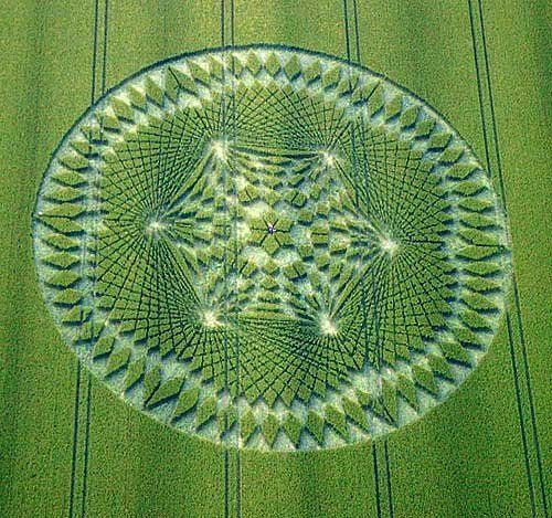 One of the most mind-blowing crop circles I've seen yet. The designs are perfectly symmetrical and incorporate advanced mathematics and geometry.
