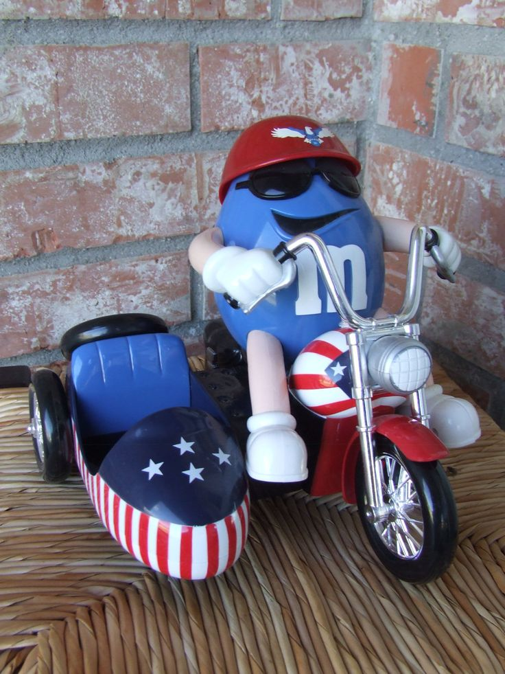 """Candy Dispenser, M & M's Candy Dispenser, Vintage M and M's """"Freedom Rider"""" Candy Dispenser, Mr. Blue M on his motorbike with side car by BeautyMeetsTheEye on Etsy"""