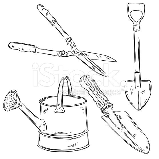Detailed Drawings Of Gardening Tools All Elements Are In Separate