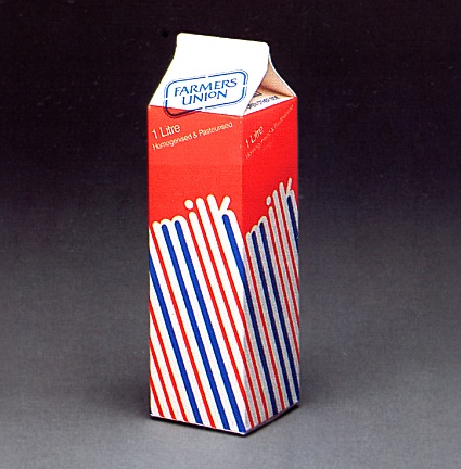 """""""Vintage milk packaging"""" A very graphic approach to early 1980s packaging design."""
