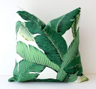 "Palm print pillow inspired by the famous Martinique wallpaper which is made famous by the ""Fountain Coffee Room"" at the Beverly Hills Hotel created by decorator Don Loper in 1942"