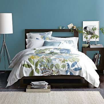 Beautiful guest bedroom paint color and inspiration - West Elm Benjamin Moore paint in Buckland Blue