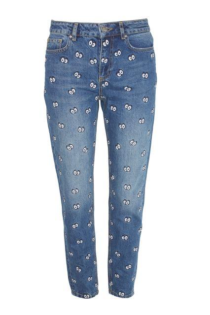 Джинсы с нашивками Zoe Karssen - Синие джинсы с нашивками в виде мультипликационных глаз в интернет-магазине модной дизайнерской и брендовой одежды