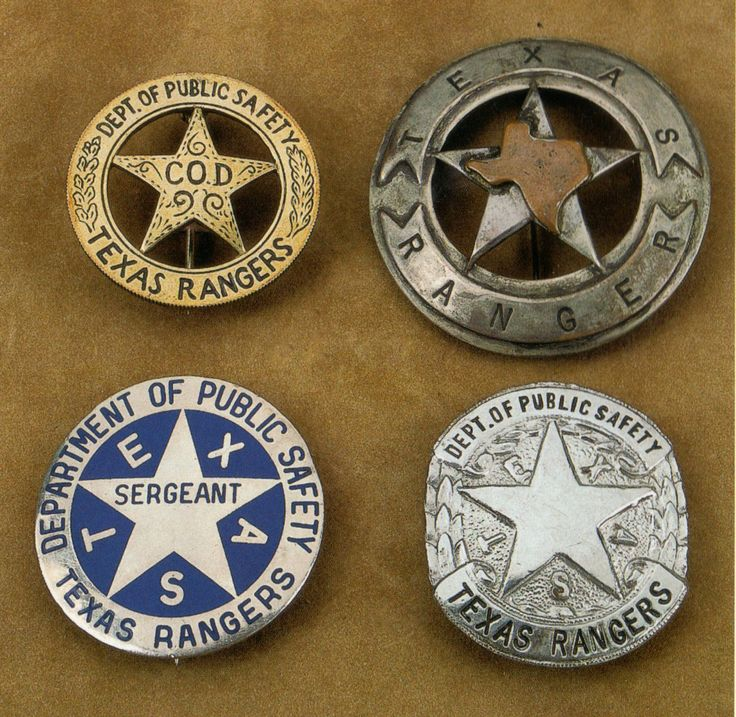 """Texas Ranger Badges...upper left 1961-current using a (preferably 1947 Cinco Peso 90% silver Cuauhtemoc coin); upper right possibly a Texas State Ranger badge; lower left 1957-1961 """"Bottle cap"""" badge not popular with the Rangers; lower right the 1934 - 1957 D.P.S Texas Ranger Badge."""