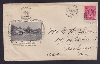 Kawartha Lakes Stoney Lake Canada 1909 Peterborough County VIAMEDE RESORT Advertising Cover MOUNT JULIAN