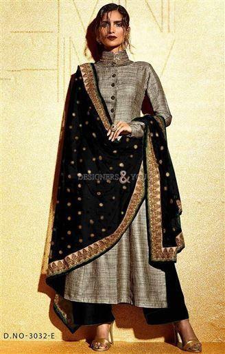 Party wear Pakistani salwar kameez patterns with parallel shape style