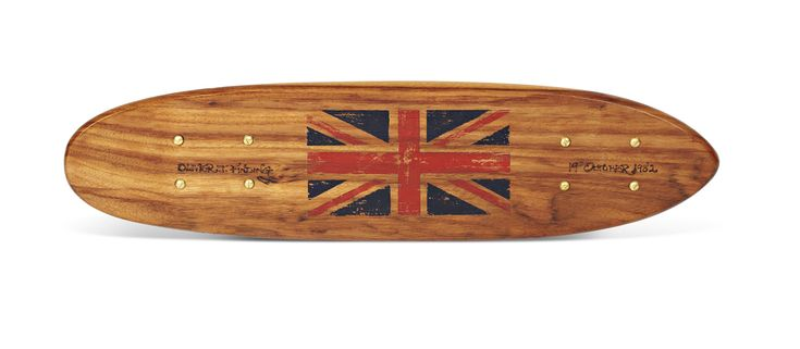 Antique Wooden Surfboard Decks painted with flags and engraved with clients name. The Gift Kitchen - London
