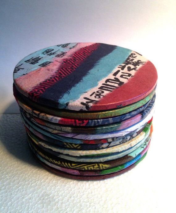 Patchwork Coasters Hanji Paper Coasters, Colorful Organic Design Handmade Zen Great Gift