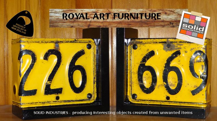 A couple of sweet old number plates hammered into a couple of bookends. Great to hold up your collection of car books/manuals etc etc Solid Industries, Royal Art Furniture, upcycled